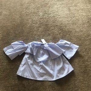 Tops - Off shoulder float stripe blouse